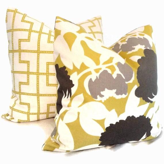 Decorative Pillows Covers 18x18 : SALE Duralee Citron Floral Decorative Pillow Cover 18x18 or