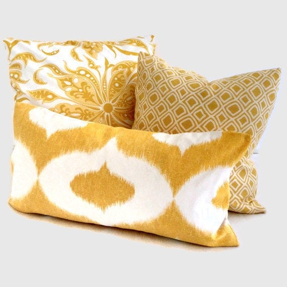 Yellow Love Throw Pillow : Duralee Yellow Ikat Sofa Decorative Pillow Cover by PopOColor