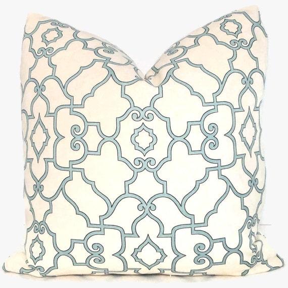 Decorative Pillows Ivory : Aqua and Ivory Trellis Decorative Pillow Cover 20x20 by PopOColor