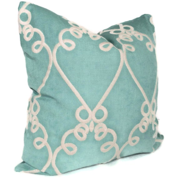 Turquoise Windsor Embroidery Decorative Pillow Cover 20x20