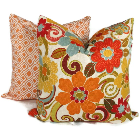 22x22 Decorative Pillows : Orange Floral Decorative Pillow Cover 18x18 20x20 by PopOColor
