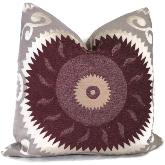 Aubergine and Gray Suzani Decorative Pillow Cover  20x20, 22x22, 24x24 - Throw pillow -Accent pillow, toss pillow, Radiant Orchid