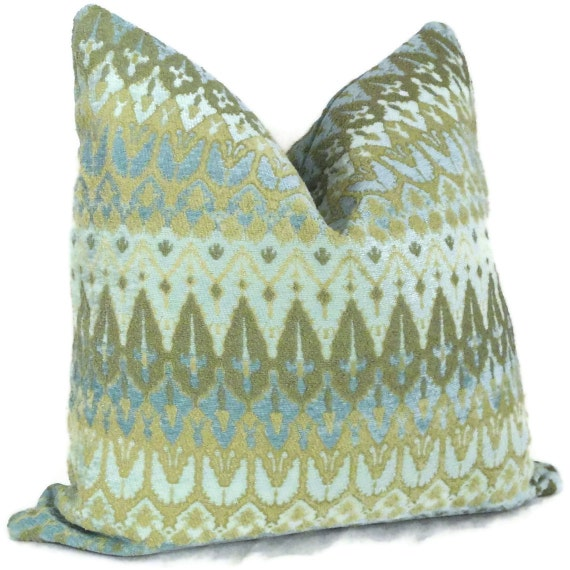 Annie Selke Turquoise Chenille Pillow Cover  Lumbar Pillow,  Accent Pillow, Throw Pillow