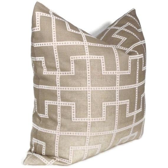Celerie Kemble Bleecker Taupe Trellis Pillow Cover  18x18