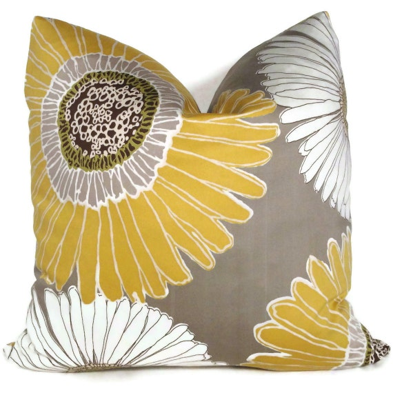 Yellow And Grey Throw Pillow Covers : Duralee Yellow and Gray Decorative Pillow Cover 18x18