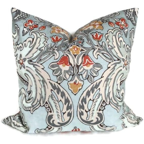 Kravet Lutron Blue, Gray, Red and Gold Decorative Pillow Cover 18x18, 20x20, 22x22 or Lumbar pillow, Accent Pillow, Throw Pillows