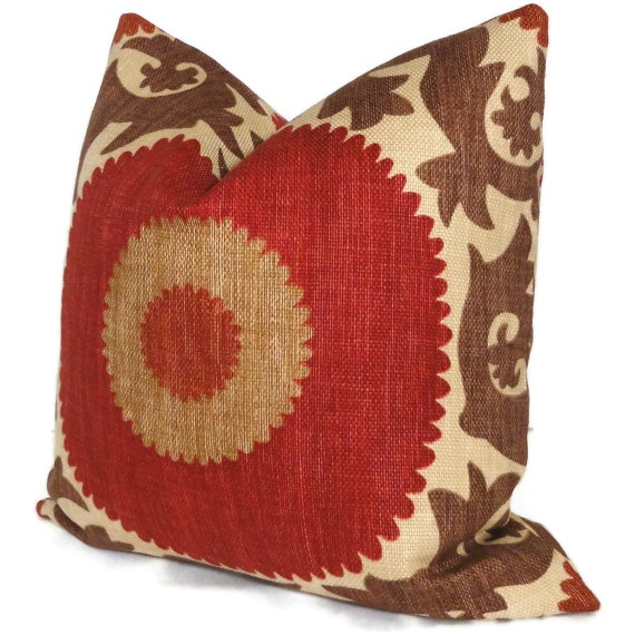Fahri Clove Red Suzani Decorative Pillow Cover Square, Eurosham or Lumbar Pillow Cover, Accent Pillow, Throw Pillow, Pillow Cover