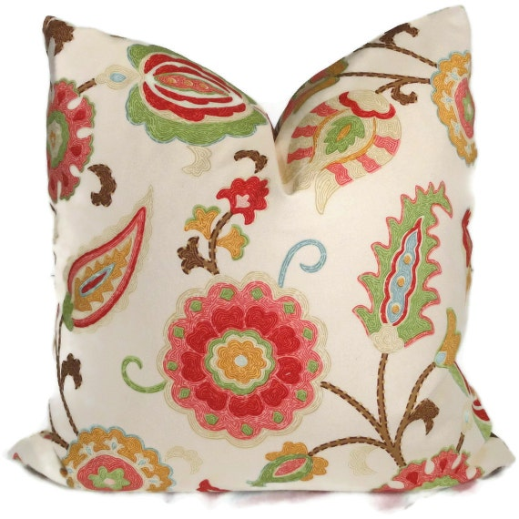 Jacobean Decorative Pillows : Spring Colors Jacobean Floral Decorative Pillow by PopOColor