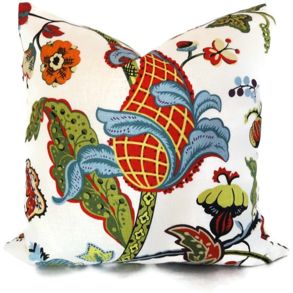 Jacobean Decorative Pillows : Multicolor Jacobean Decorative Pillow Cover by PopOColor on Etsy