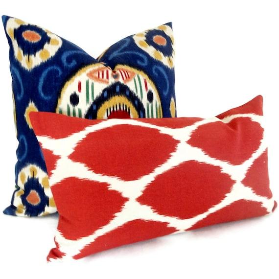 west elm red ikat decorative pillow cover lumbar by popocolor. Black Bedroom Furniture Sets. Home Design Ideas