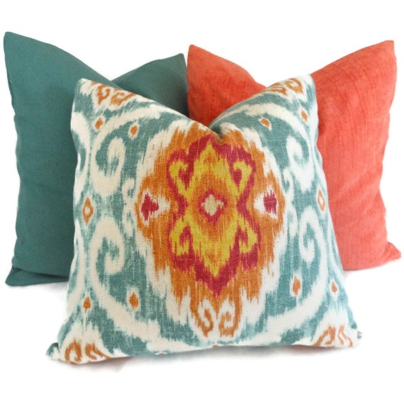 Etsy Decorative Pillows : Iman Turquoise and Orange Ikat Decorative Pillow Cover 18x18