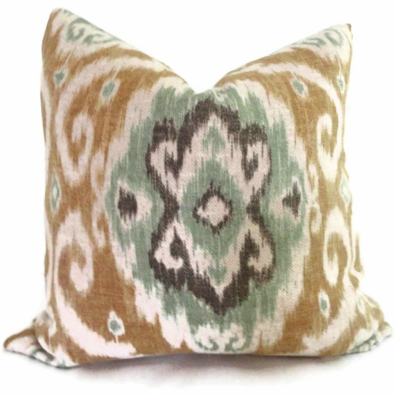 Iman Turquoise and Khaki Ikat Decorative Pillow Cover 18x18, 20x20 or 22x22 or lumbar