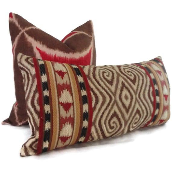 Uzbek style Ikat Decorative Lumbar Pillow Cover 12x22, Toss Pillow, Accent Pillow, Throw Pillow