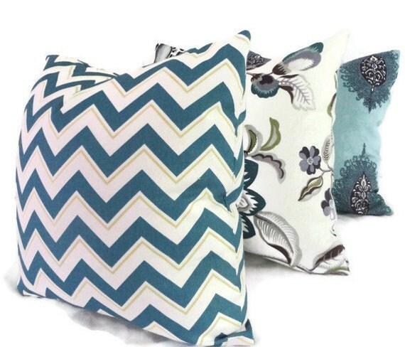 SALE Duralee Blue Chevron Pillow Cover 18x18, 20x20, 22x22, 14x20 or 12x24