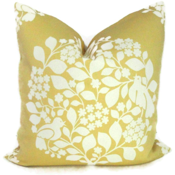 SALE Duralee Yellow Tree of Life Decorative Pillow Sham 18x18, 20x20