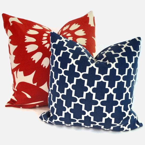 Quatrefoil Decorative Pillow : Blue and White Quatrefoil Indoor Outdoor Decorative Pillow