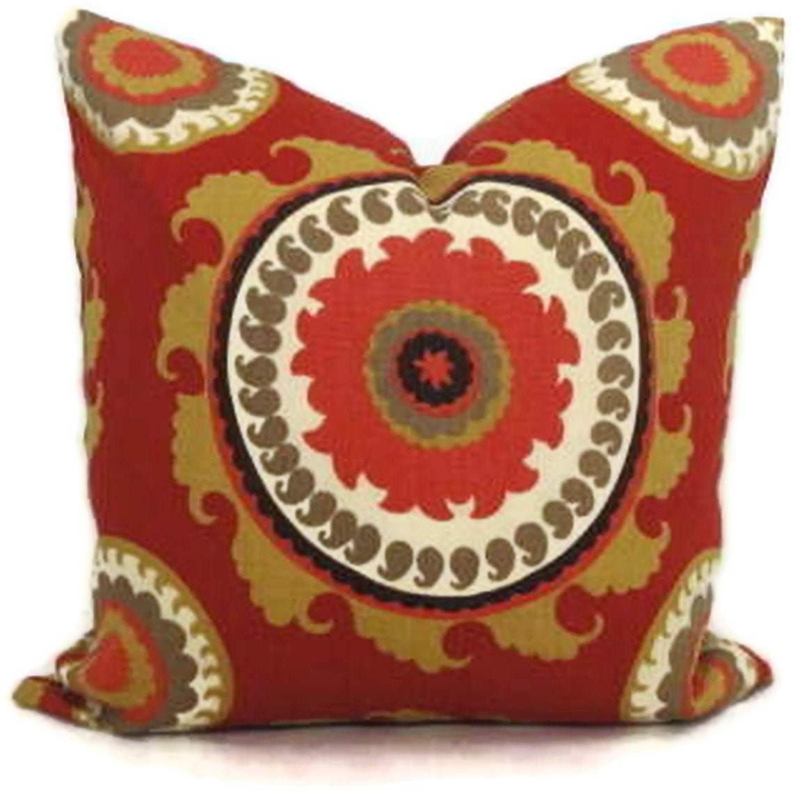 Duralee Russet Red and Gold Suzani Decorative Pillow Cover