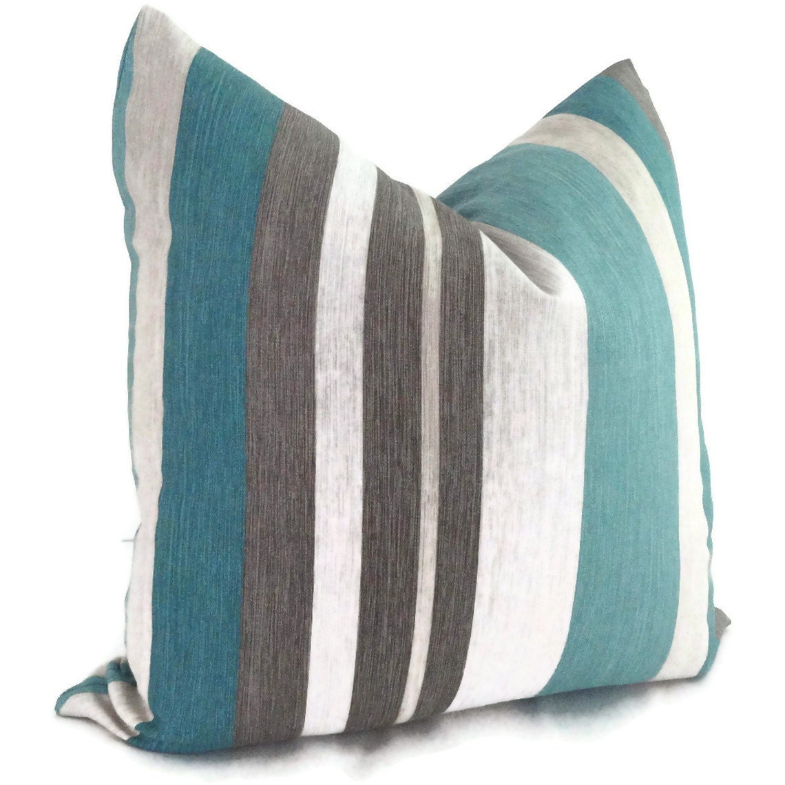 Turquoise Teal And Gray Stripe Linen Decorative Pillow Cover