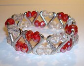 Swarovski Crystal Bracelet stretchy 8mm red crystals clear silver spacers double stranded gemstone perfect gift for her