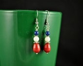 Clearance Price  - Red White & Blue Show Your Colors  Earrings
