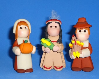 Polymer Clay Pilgrims and Nat. American Thanksgiving Miniatures