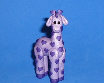 Polymer Clay Purple Heart Giraffe