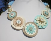 Vintage Flower Necklace Layered Circles VEgan Friendly
