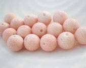 Vintage Sugar Bead Lot Peachy Pink Glitter (16)