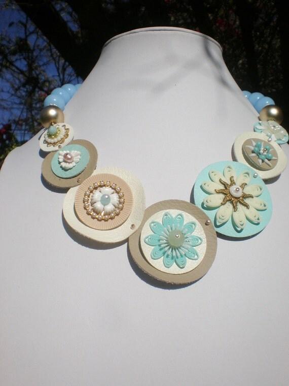 Vintage Flower Necklace Layered Circles VEgan Friendly