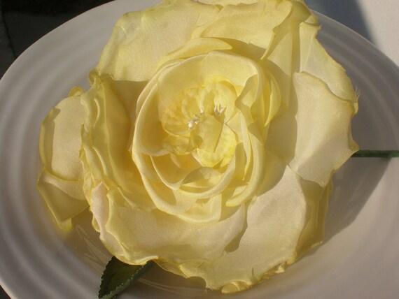 Silk Flower Yellow Large Corsage Trim