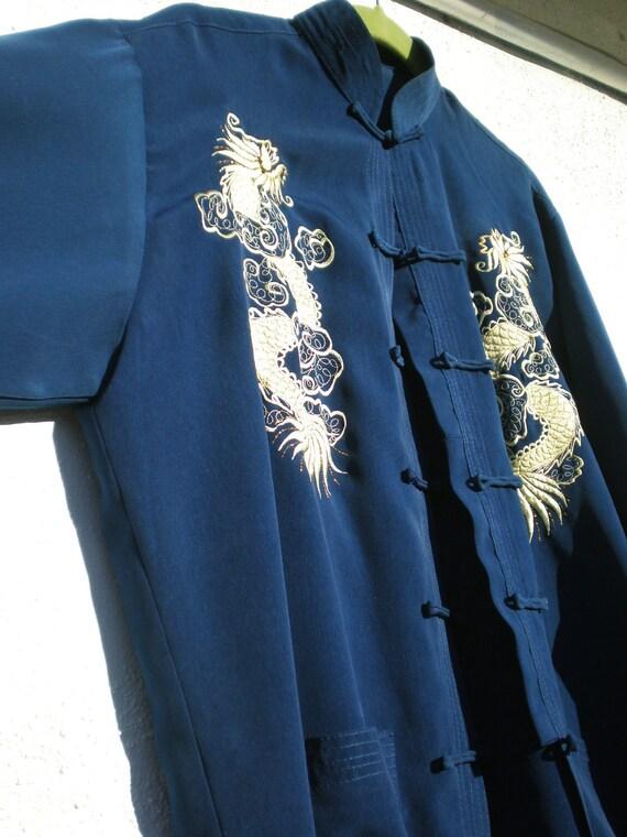 Vintage Jacket Dragon Blue Gold Mandarin Women