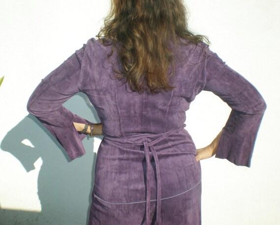 Vintage Coat Jacket Long Purple Suede