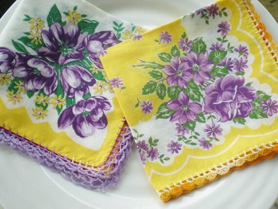 Vintage Flower Hankies Crochet  Purple Yellow (2)