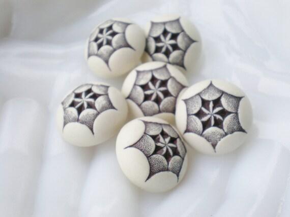 Vintage Button Set of 6 Brown Beige Shank