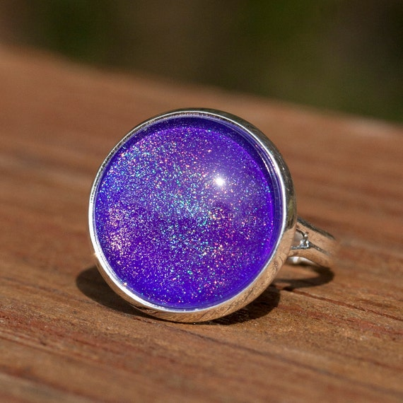 Neon Purple Holographic Nail Polish Ring