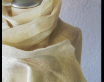 Felt scarf eco style white nuno felted Super soft for women