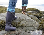SLUGS Fleece Rain Boot liners Purple with Watercolor Cuff, Fleece Socks Inserts, Winter Rain Snow Fashion, Boot Cuffs (Sm/Med 6-8 Boot)