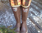 SLUGS Fleece Rain Snow Boot liners in Black, Peach with Tie Dye Pattern Cuff, Fall Winter Fashion (Sm/Med 6-8 Boot)