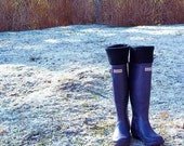 SLUGS Fleece Snow Rain Boot Liners Solid Black, Tall Socks, Winter Fall Fashion, Boot Cuffs, Cold Weather (Sm/Med 6-8 Boot)