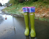 SLUGS Fleece Rain Boot Liners Hot Pink with a Purple Pink Plaid Cuff, Fall Winter Fashion, Rainy Day Style (Sm/Med 6-8 Boot)