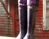 SLUGS Fleece Rain Boot Liners Black with a Purple Plaid Cuff, Camping Style. Rainy Day Style (Med/Lg 9-11 Boot) - WithTheRain