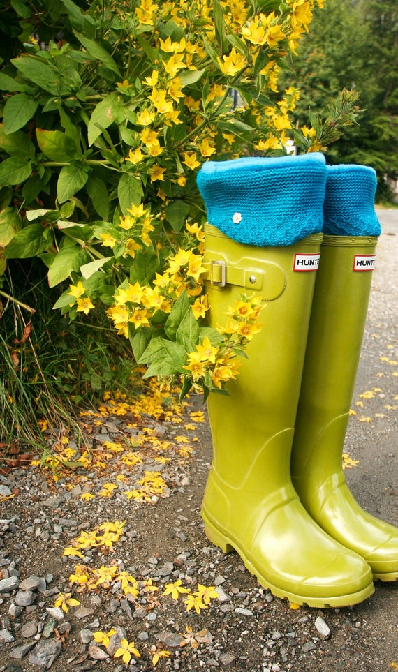 SLUGS Fleece Rain Boot Liners in Cerulean Turquoise Upcycled Sweater Cuff, Gardening Style, Winter Fall Fashion, Rainy Day Syle (Sm/Med)