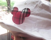 Baby Snap Designs White Sun Hat With Red Plaid Mouse Head - Toddler Size - Toddler Boy Bucket Hat