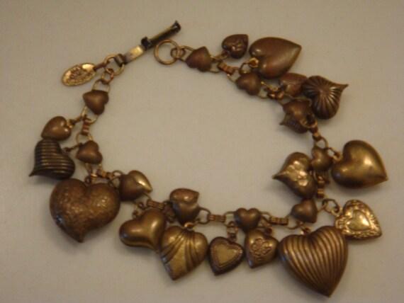 Vintage Pididdly Links Heart Charm Bracelet