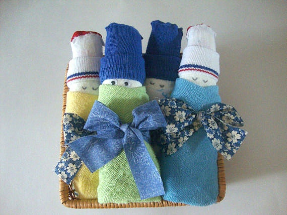 Babies in a Basket, Set of 4, Unique Baby Shower Gift