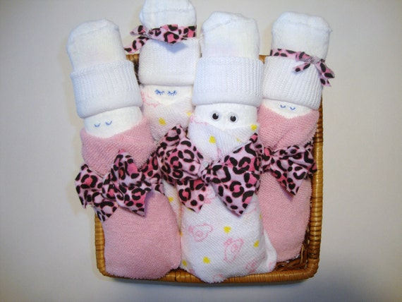 Custom order for ANN - Babies in a Basket, Set of 4, Unique Baby Shower Gift
