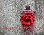 PDF PATTERN Crochet Wine Bag and Flower -  Gift Bag - Wine Cozy