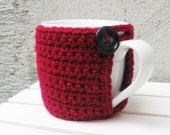 Red Coffee Mug Cozy with Built in Coaster Crochet Burgundy Red Wine Eco-Friendly Reusable