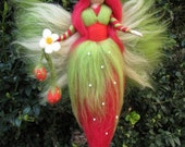 Needle Felted Wool fairy, Strawberry fairy, Waldorf inspired fairy doll