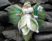 Snowdrop,  Needle and Wet Felted Wool fairy, Nature fairy, Waldorf inspired fairy doll